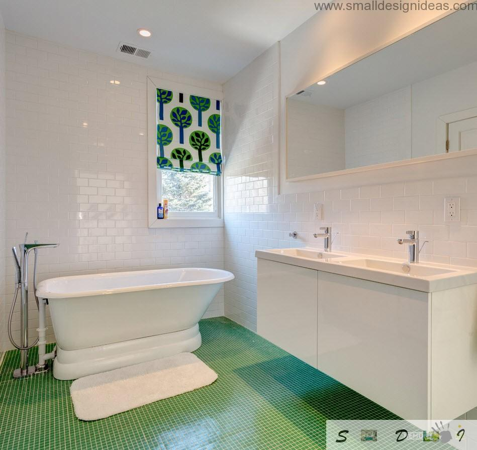 Master Bathroom Ideas for White Interior. Green floor and naturalistic print on the window curtain