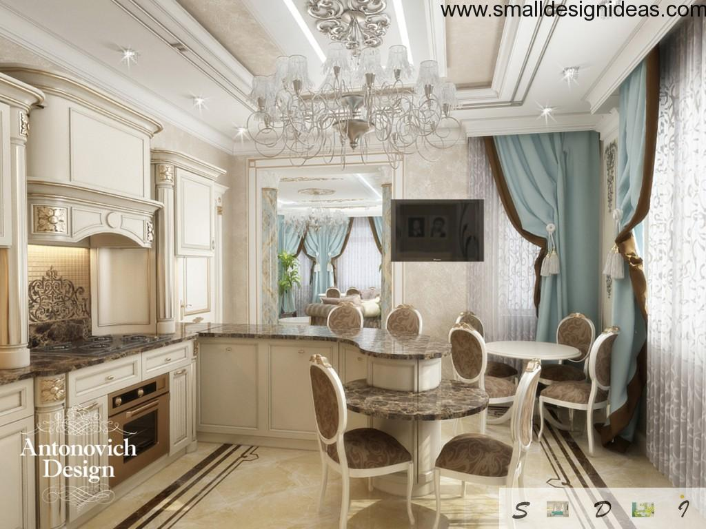 Modern Rococo design of the kitchen with stucco ceiling and marble floor