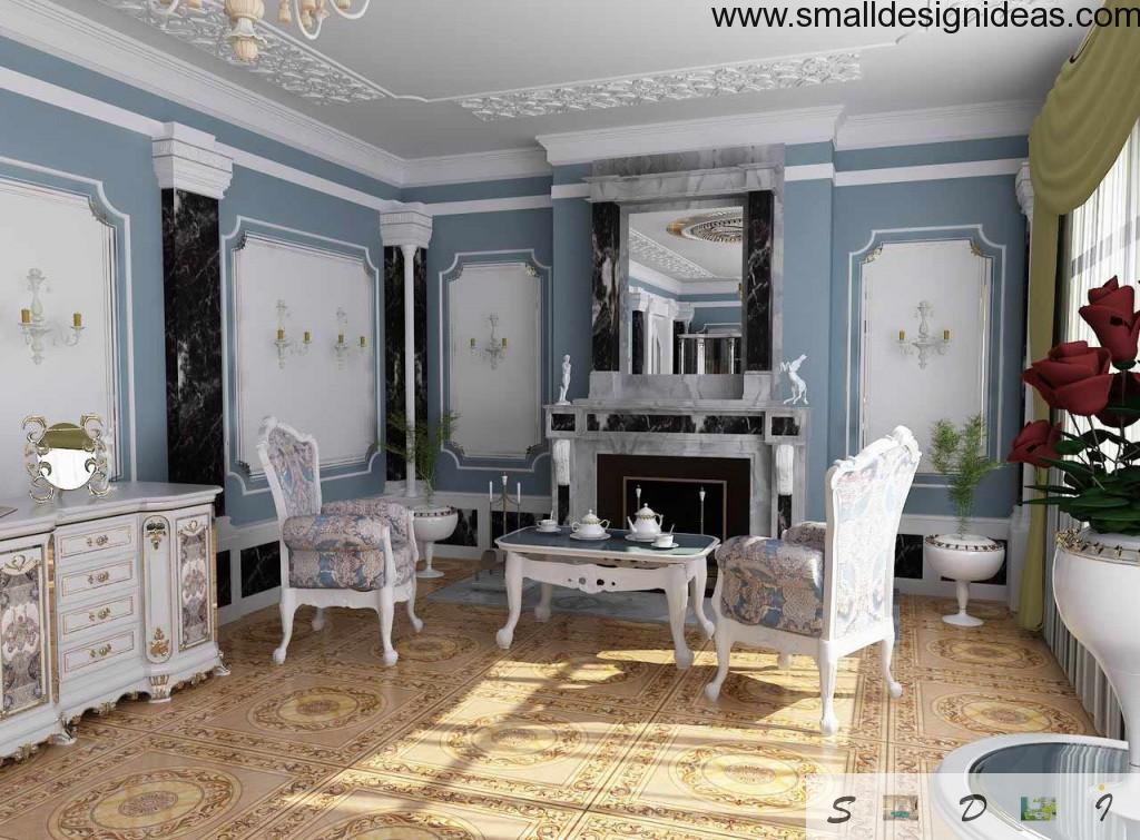 White and light violet furniture in the grandeur pompous interior of the countruside residence