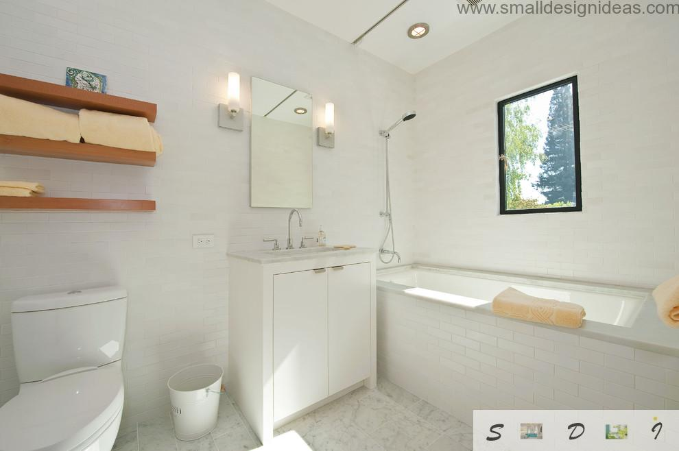 Master Bathroom Ideas for White Interior. Wooden shelves in the white design of the bathroom in scandinavian style