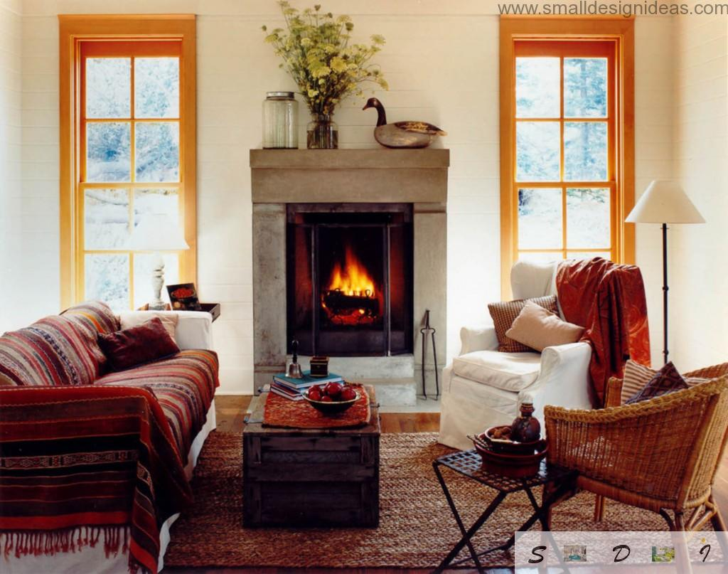 Fireplace in the rustic living room interior with prospective focus