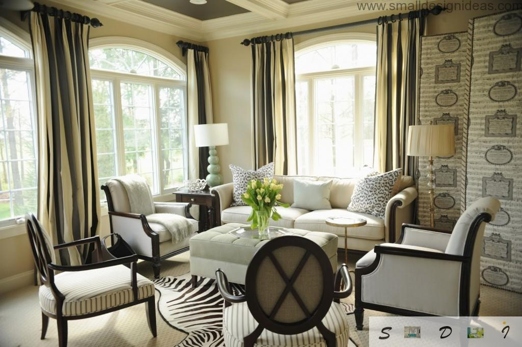 Light and pastel colors in the living room of the villa