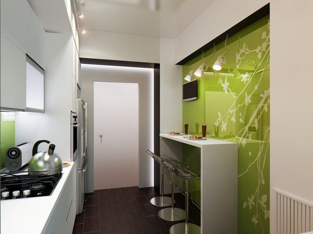 Greenish idea for small kitchen design