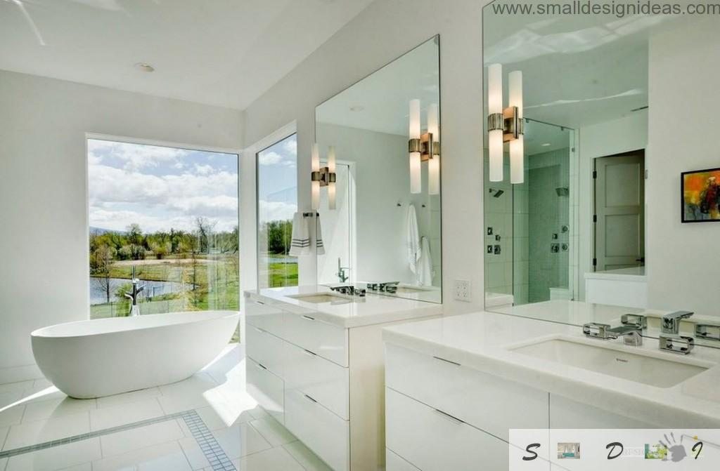 Mirrors and big panoramic window as the design ideas for the white bath