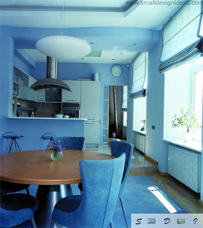 Blue thematic color for the kitchen and the dining zone