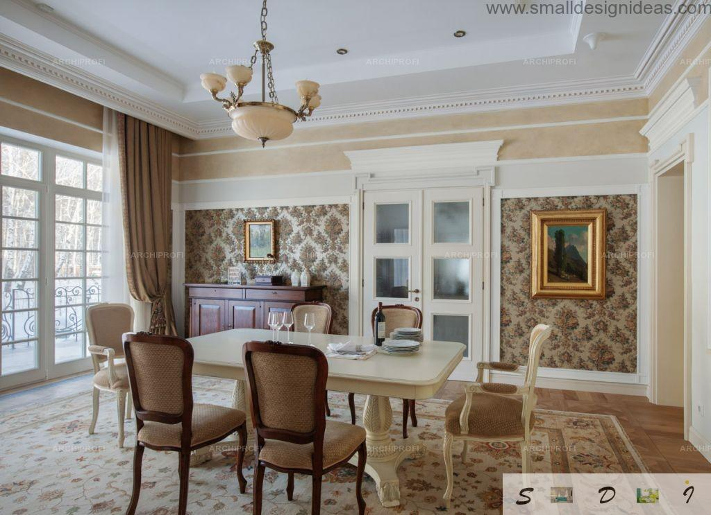Dining room in the classic style in the real private house