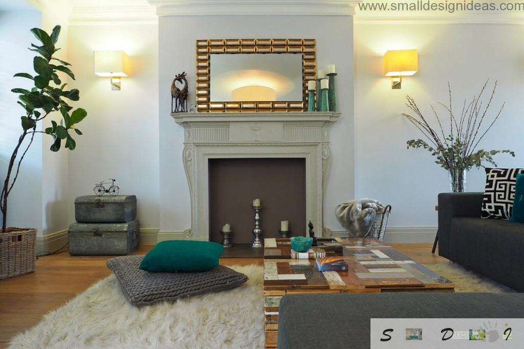 Dutch apartment interior design in green and light colors with decorating fireplace