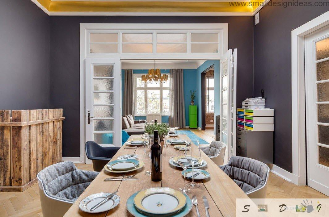 Dining Room Table With Noble Wine On The White Wooden In Loft Style Apartment Interior