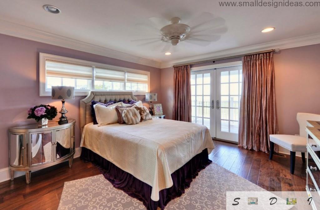 Dark shades in the purple bedroom interior