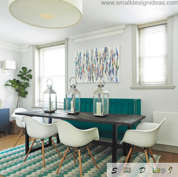 Dutch apartment interior design review. Unique dining zone decoration with candlesticks under the glass and turquoise interior design ideas in Dutch apartment