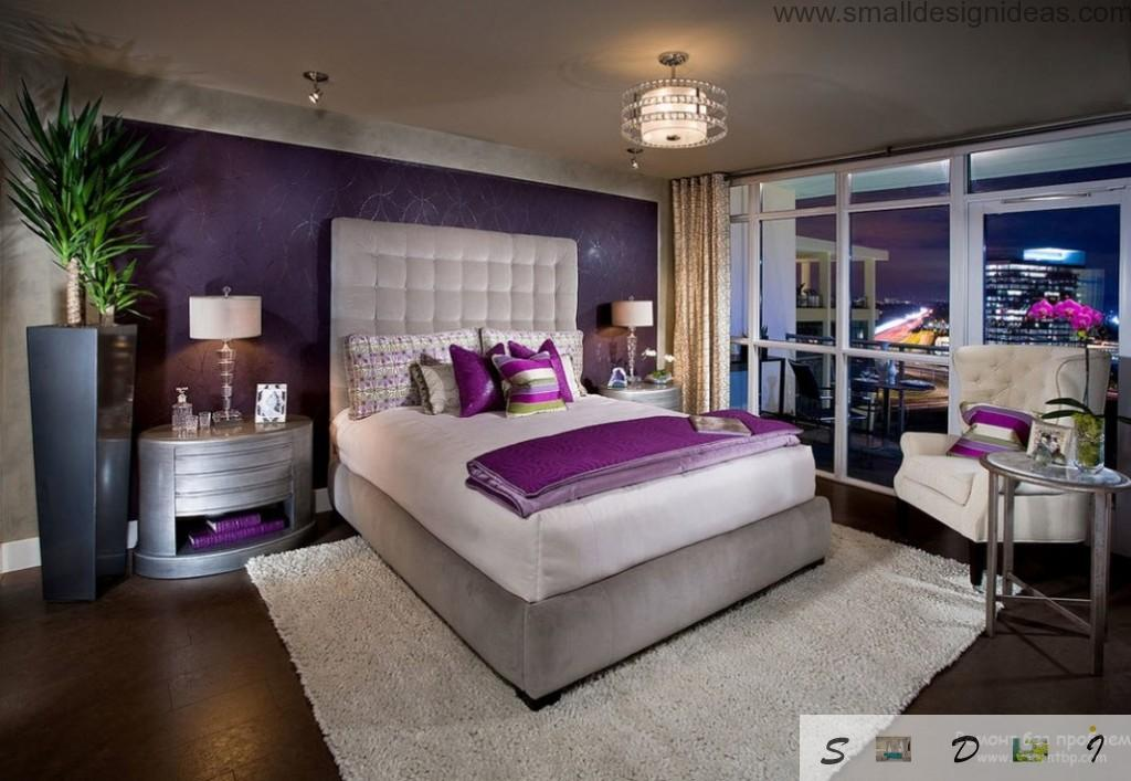Purple color in the bedroom is relaxing and calming in the night