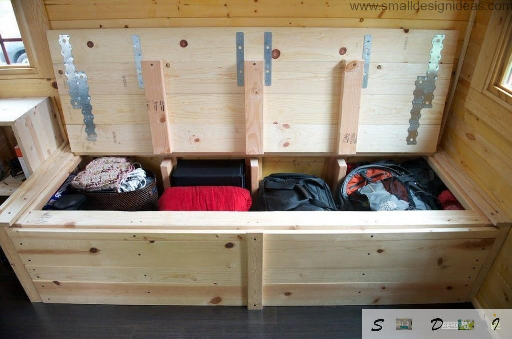 Small Mobile House Design. Wooden Home. Storage system under the bed