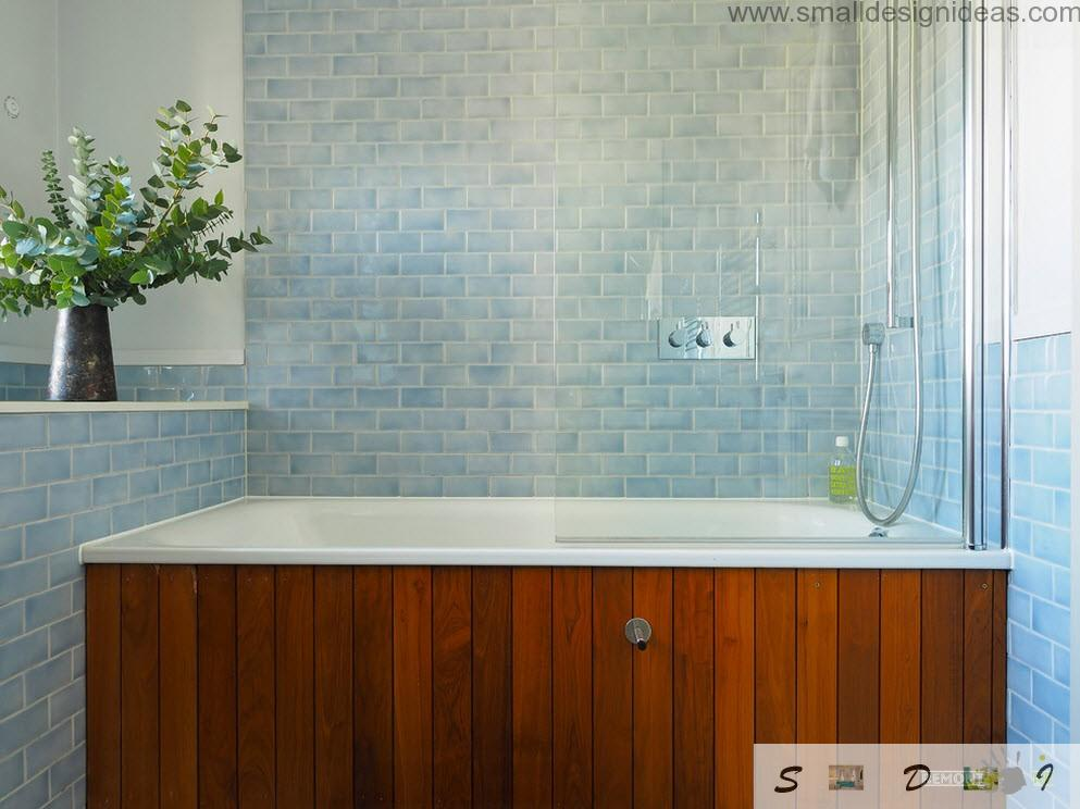 Classic and even antique design of the bath in the Dutch apartment`s bathroom with blue tile and wooden linings