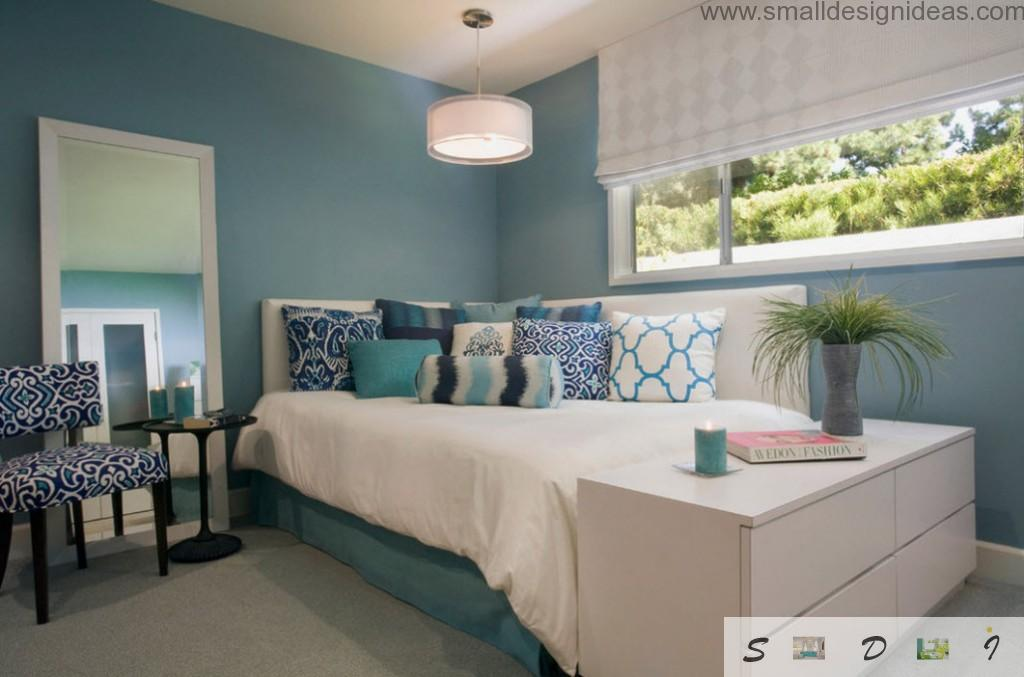 Tender color gamma for teen girl bedroom in the private house with lots of decorating elements