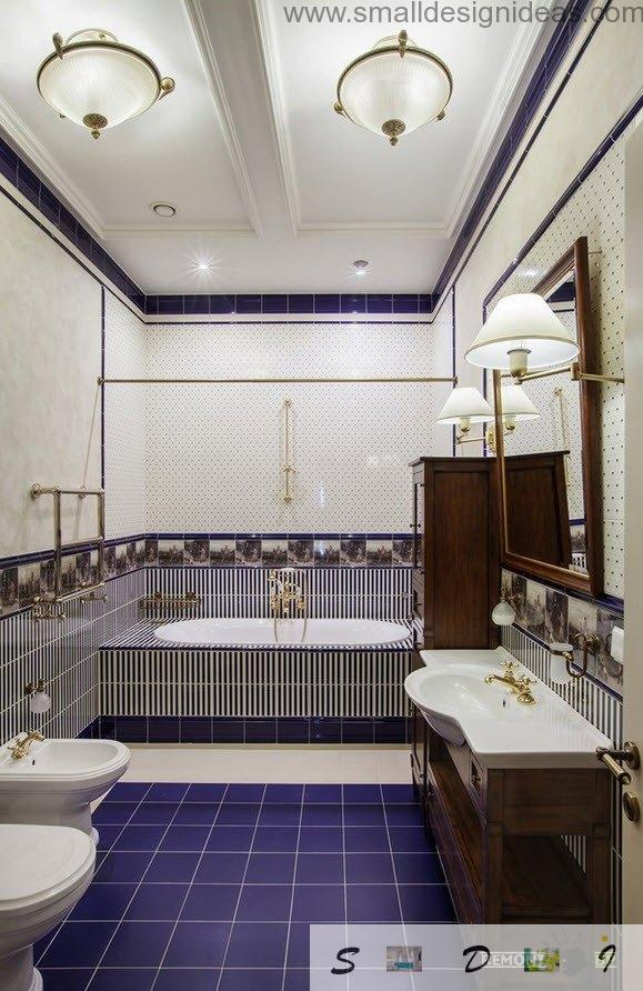 Unusual blue and white mix in the classic interior of the bathroom in private house