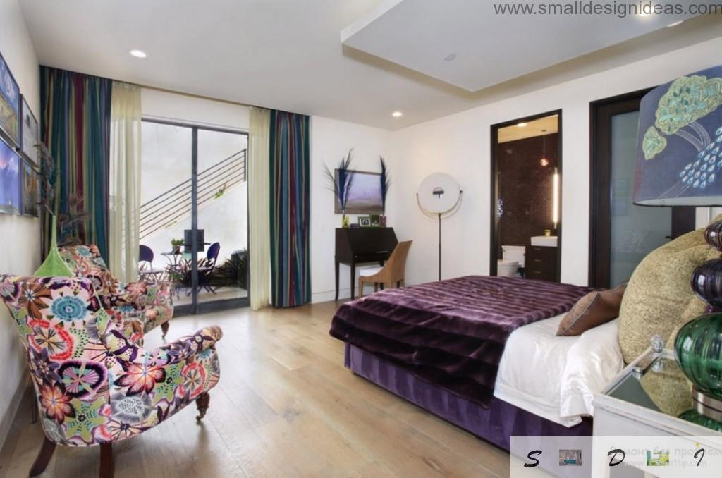 Purple bedroom with panoramic door