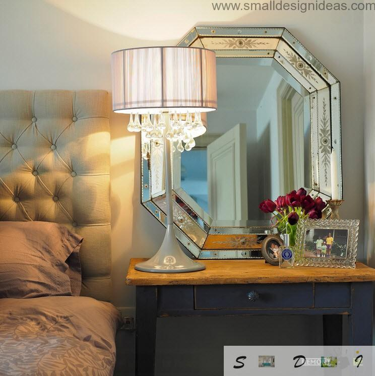 Bedroom with intimate warm light from the crystal lamp on the bedside table