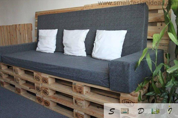 Variant of sofa production with building pallets for modern interior