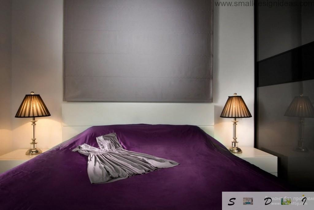 Simple design in the bedroom with purple cover on the bed