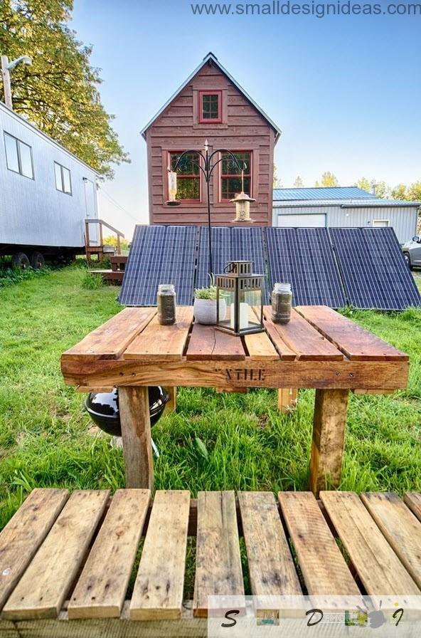 You can arrange the barbecue area near the mobile wooden house wherever you want