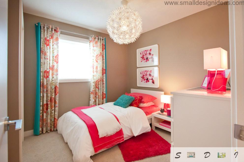 bright color mix in the teen girl bedroom interior