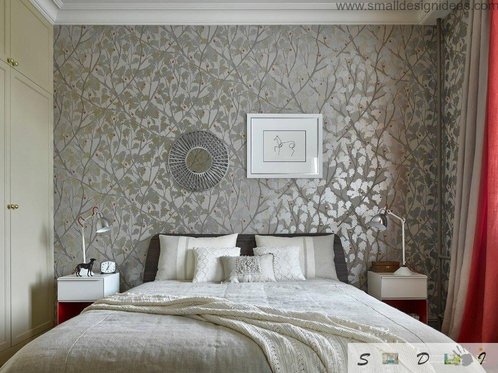 Silver pattern on the wallpaper in the modern bedroom