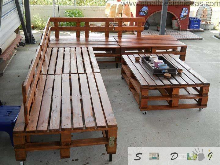 Set of the wooden DIY pallet furniture outside for garden