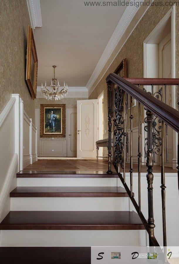 Tha hallway and the forged ladder leading to the bedrooms on the second floor of the house