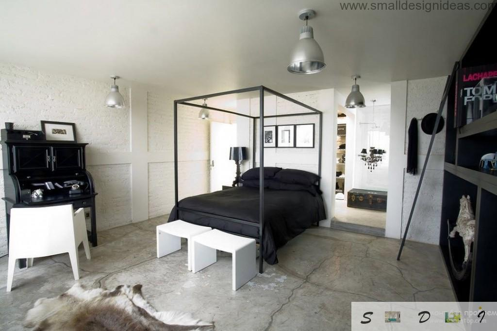 Original men`s bedroom interior with black twin platform bed and canopy skeleton, with white accent backless chairs in the form of nighstand