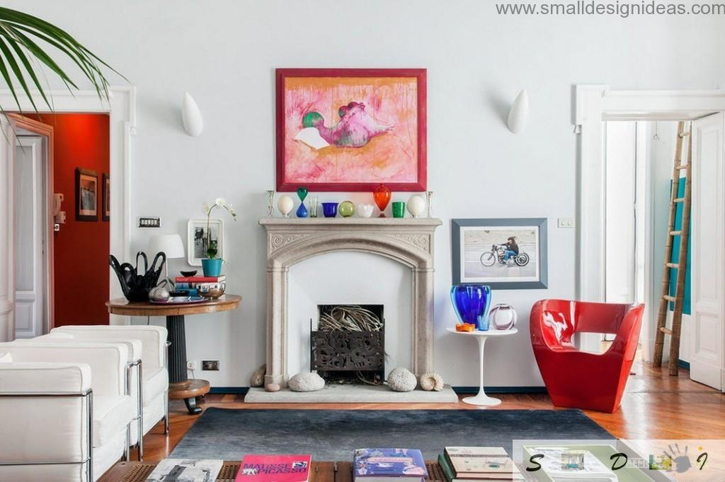 Makeshift fireplace in the modern Italian apartment full of bright elements in the light interior