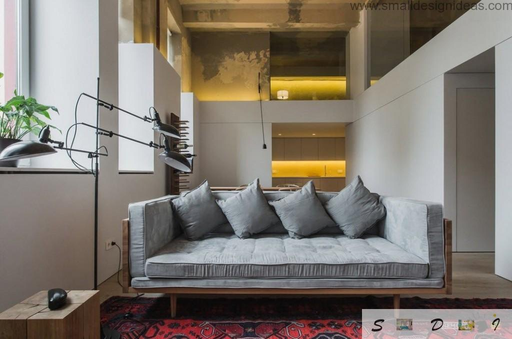 Yellow warm backlight for the IKEA furniture in the modern hi-tech interior in the apartment