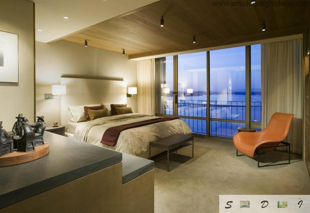 Relaxing ambient of the mens bedroom for sleeping with platform bed and bedside table and marine scenery outside
