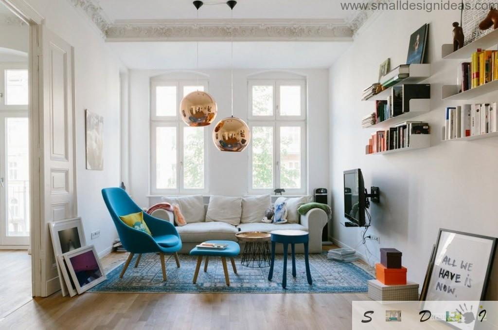 IKEA wooden furniture and two gold pendant spheres-lights make this interior unique and unrepeatable