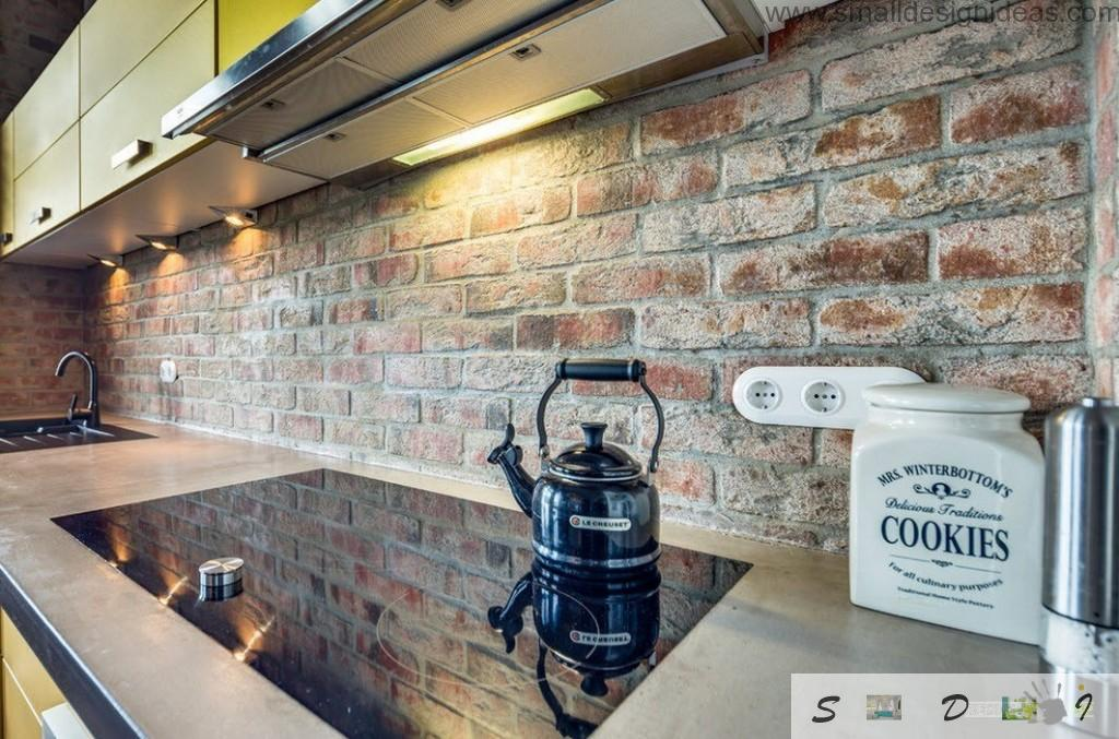 Brickwork instead of splashback is not very practically but very spectacular