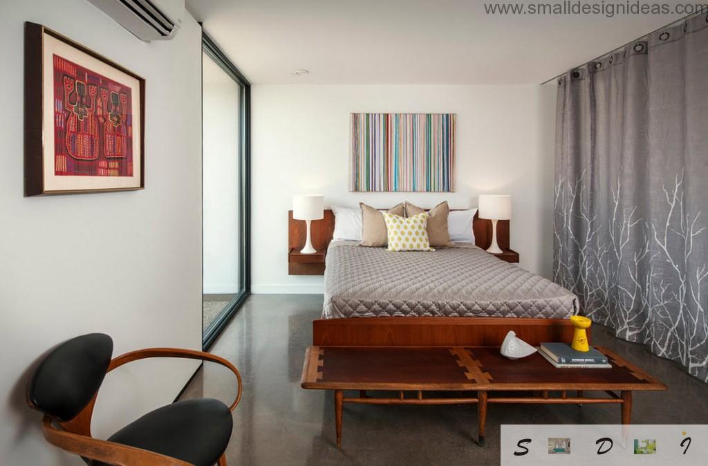 Ikea indoor furniture for bright bedroom in dark tones
