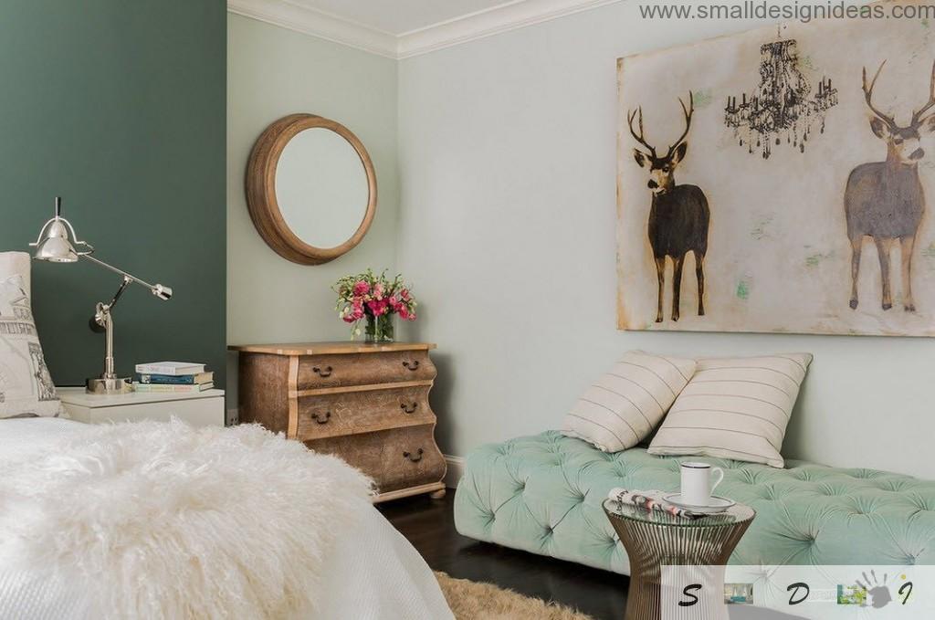 Animalistic motif in the rustic bedroom