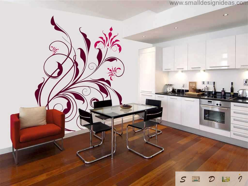 Kitchen in the white color with freshing red impressionistic flower motif