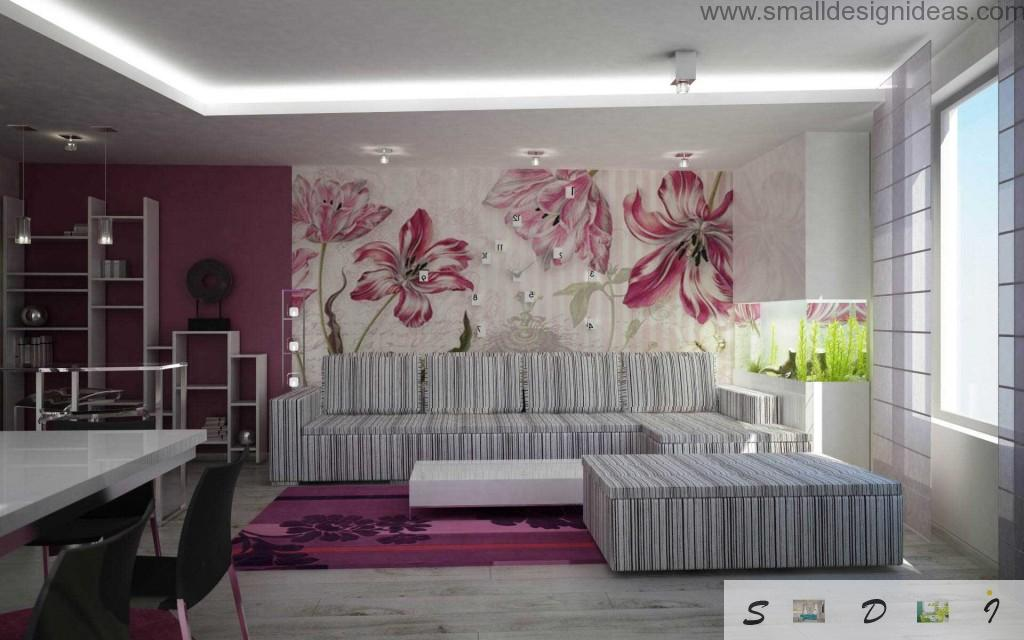 Fresh Apartment Wall Paint Ideas. Original living room interior in the eco style with striped furniture