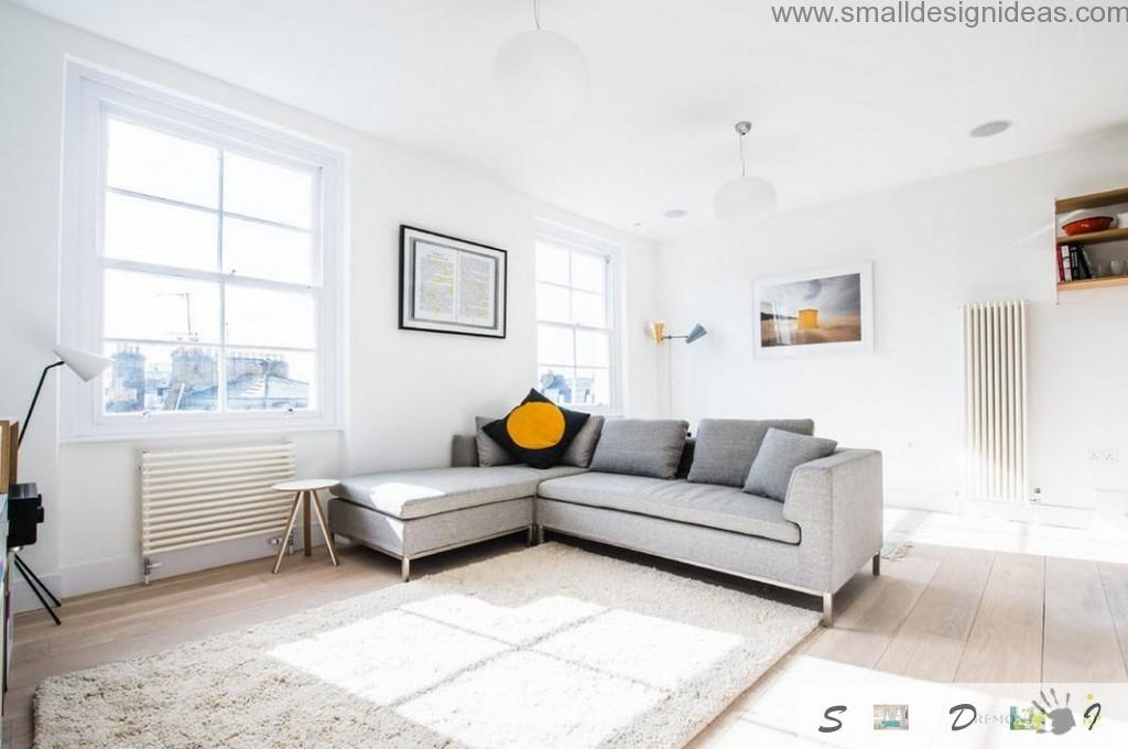IKEA angle sofa for rest in the light living room of the modern apartment