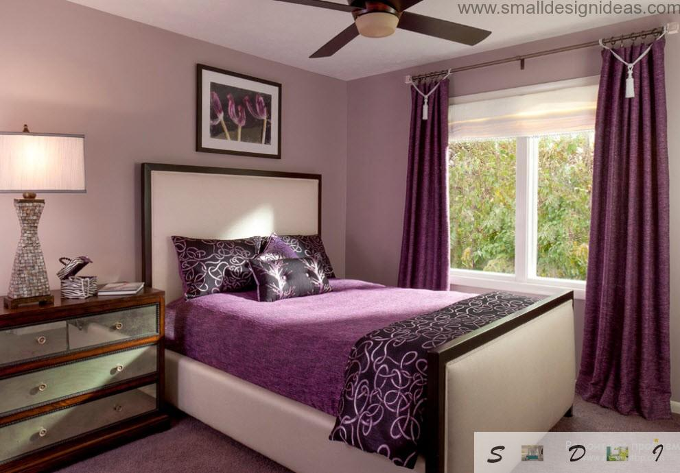 Purple Color Bedroom Ideas. Classic purple bedroom interior in the modern bedroom with fan and wide white window
