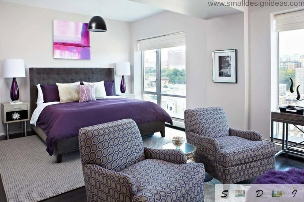 Light tender shades of purple in the spacious first floor bedroom