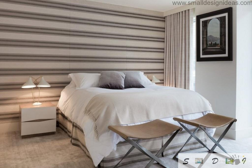 Horizontal stripes on the accent wall in the bedroom