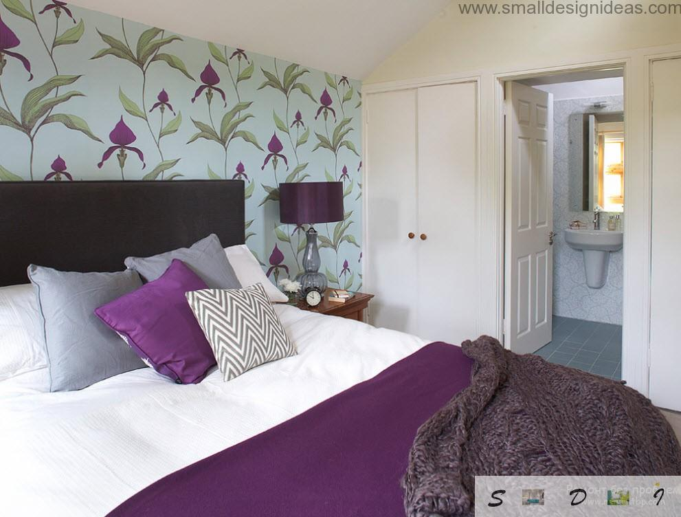 Purple Floral Pattern Wallpaper And Cushions And White Walls Of The Purple  Bedroom