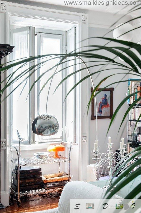 Living room with the rest zone in the Milan apartment with plants