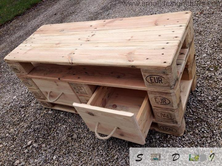 Easy design of the pallet tablу with handmade drawers