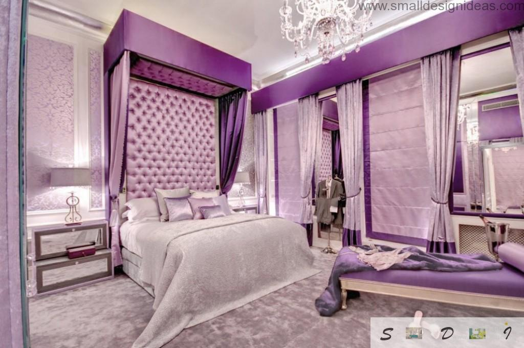 Purple color and soft walls for modern bedroom