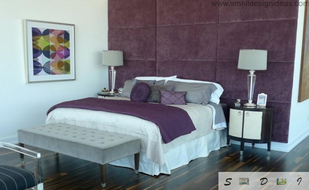 Purple soft wall and purple cover ion the bed in the bedroom