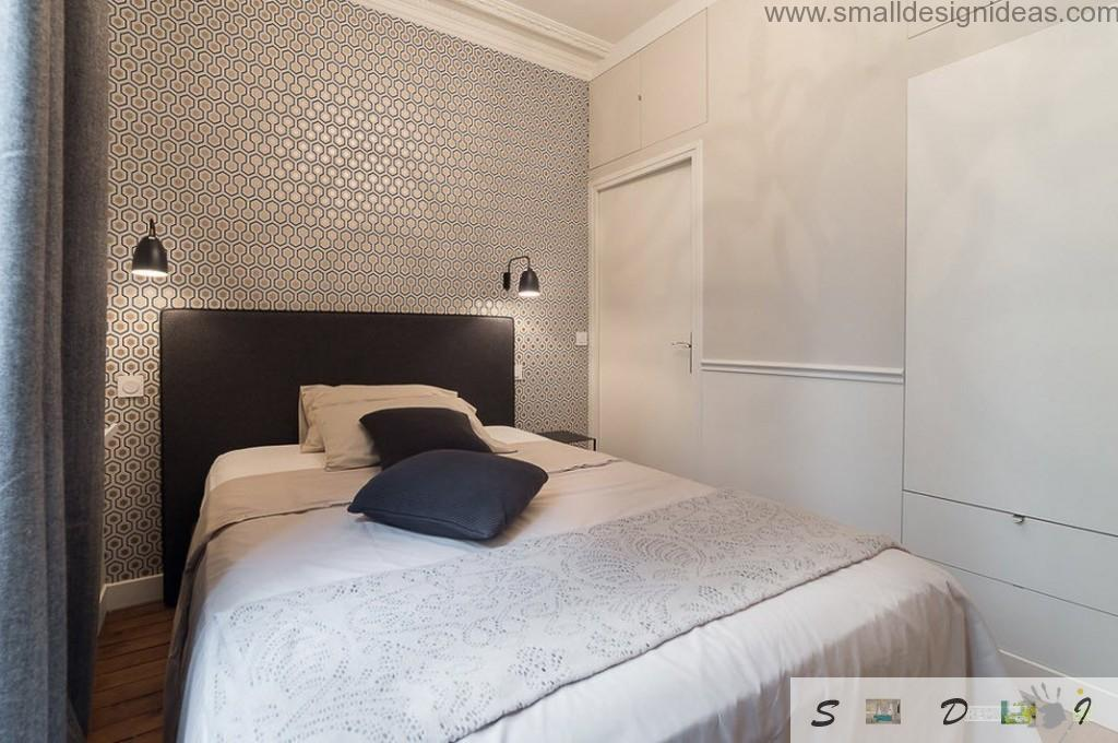 Creamy bedroom with thought-out wall decoration