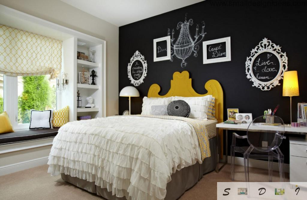 contrasting wall as an instrument for zoning the bedroom for girl