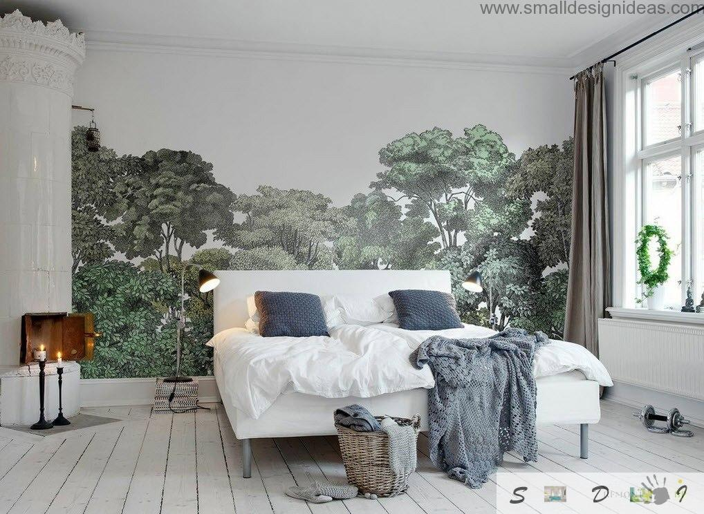 Natural decorations of the photo wallpaper in the bedroom